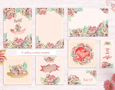 Watercolor Flower Wedding Invitation Pack