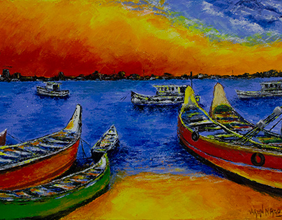 Palette Knife Acrylic Painting - Bengare Island