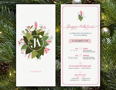 Huwelijksuitnodiging Jasper + Astrid