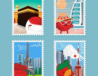 Tamtomeh around the world stamps