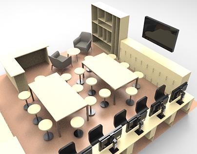 Renders de salas de clases y oficinas de un colegio