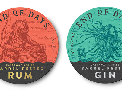 EOD Castaway Series Labels illustrated by Steven Noble