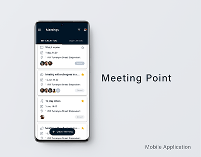 Meeting point mobile application design