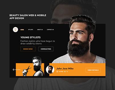 Beauty salon for mens website design