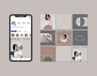Templates posts and highlight icons for instagram