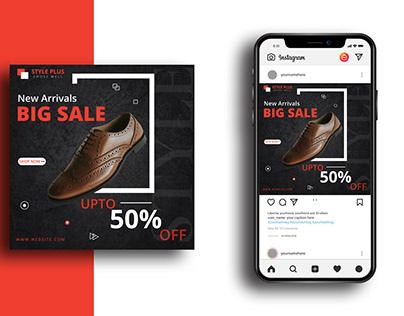 shoe social media banner or poster design