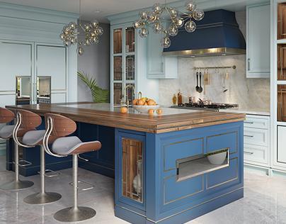 BabyBlue kitchen 3d visualization