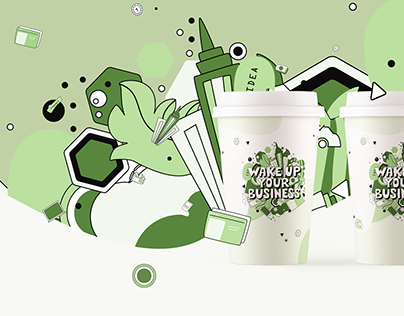 Illustration and lettering for a coffee cup