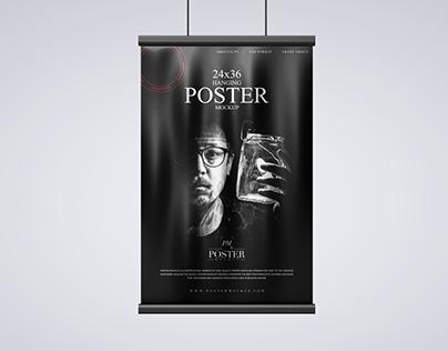 Hanging 24x36 Modern Poster Mockup Free