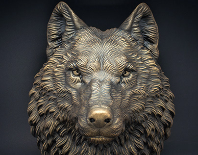 Wolf animal head wall sculpture faux bronze