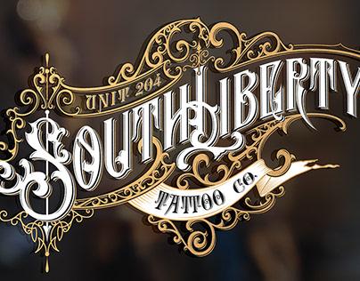 Handwritten logo for South Liberty tattoo shop