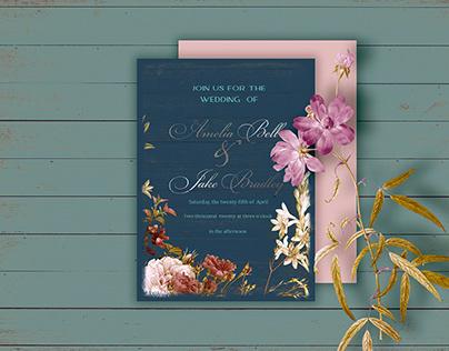 PSD Template Wedding Premade Invitation