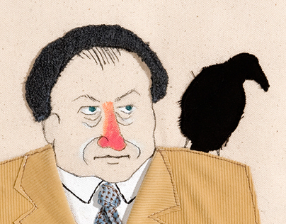 Mr. O and his crow | Fabric Illustrations