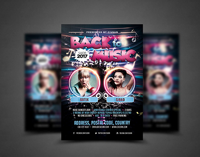 Back to Music Flyer Template