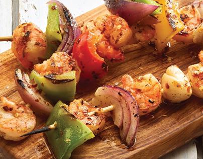 Seafood Skewer Spread & Lemon Dill Salmon Burger Recipe