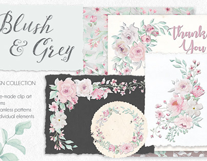 Blush and grey watercolor design collection