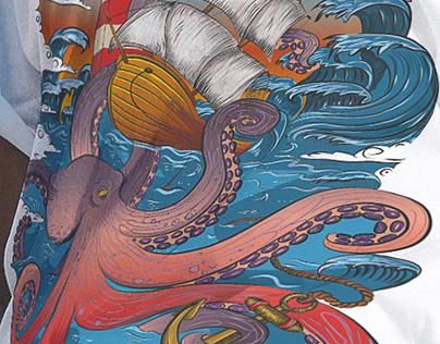 T-shirt design. Octopus tattoo by Julia Art