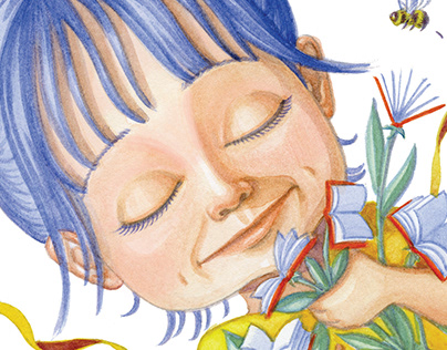 Fleur de Livres wall mural in library YLLC