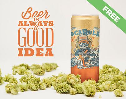 Free 12oz Beer Can Mockup
