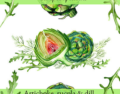 Watercolor illustrations of artichoke, rucola and dill