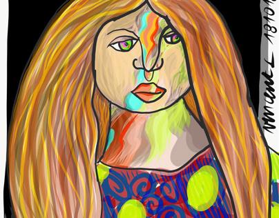 feminine self portrait multicolored