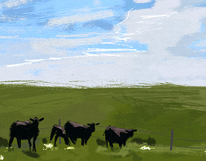 cows in a field digital painting
