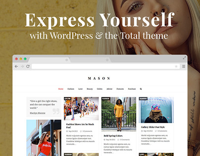 Masonry Blog Drag & Drop WordPress Website Design