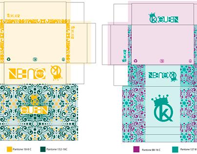 Diseño de cajas para marca de zapatos Kiss Queen