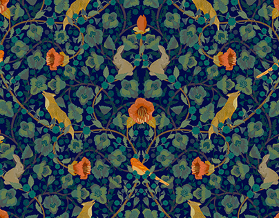 """""""Foxes and hares"""" - seamless pattern design"""