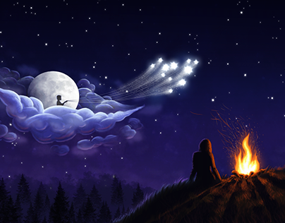 Fabulous Moon, fantasy illustration
