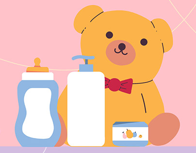 Banner Illustration for website of baby products
