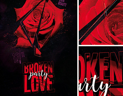 Broken Love Party Flyer Template with Facebook Timeline