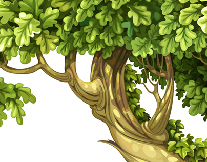 Old fairy ivy-covered trees and frame vector drawing