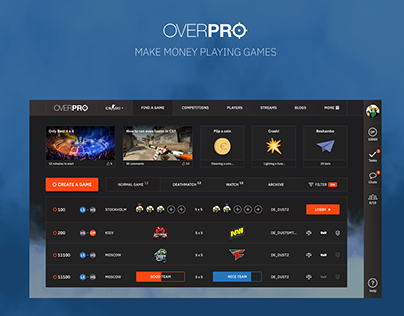 OverPRO gaming UX and UI