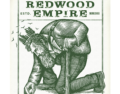 Redwood Empire Whiskey Label Rendered by Steven Noble