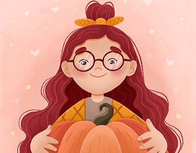 Cute autumn illustration with girl and a pumpkin