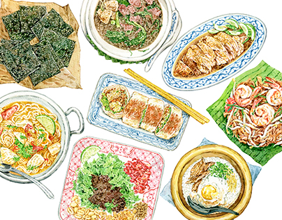 Singapore Airlines food illustration