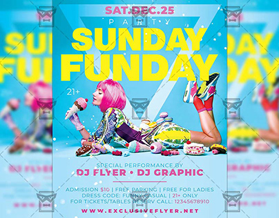 Sunday Funday Party - Club A5 Template