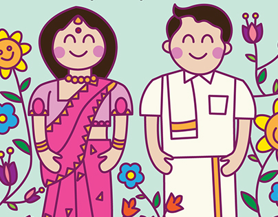 Cute South Indian Couple Wedding Invite
