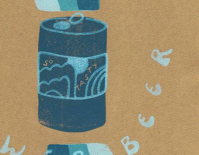 Shower Beer Linocut