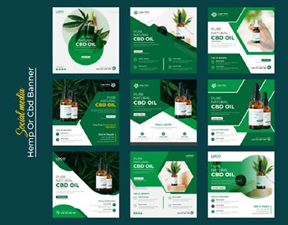 Hemp Product Or Cbd Oil Social Media post, web banner