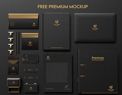 Dark & Gold Stationery / Branding Mockup