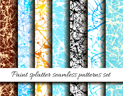 Paint splatter seamless patterns set