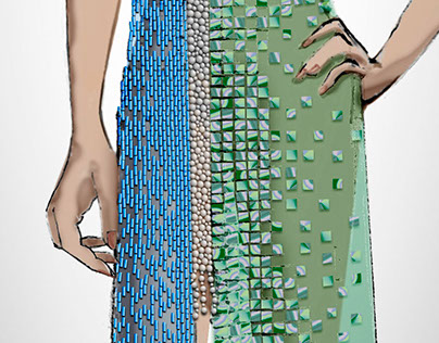 Spring Fashion Evening Gown Illustration