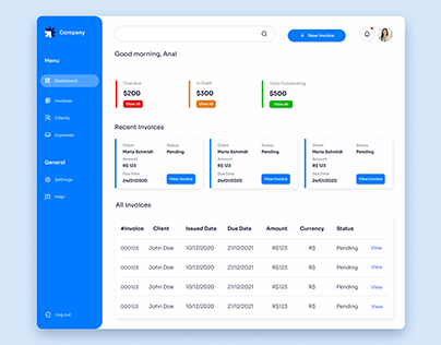 Invoicing Software Dashboard