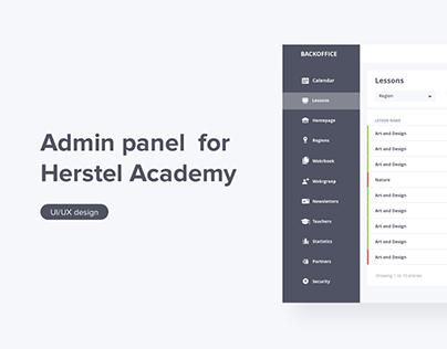 Admin panel for Herstel Academy