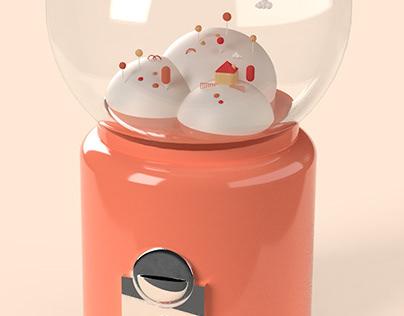 3d candy world dispenser