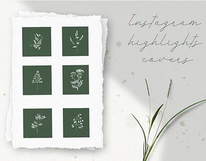 Instagram Highlights Covers. 6 covers with wild herbs
