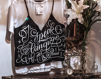 Hand lettering on a leather T-shirt