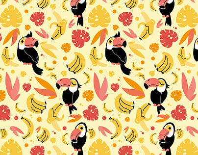 Toucans and Tropical Banana Pattern Designs